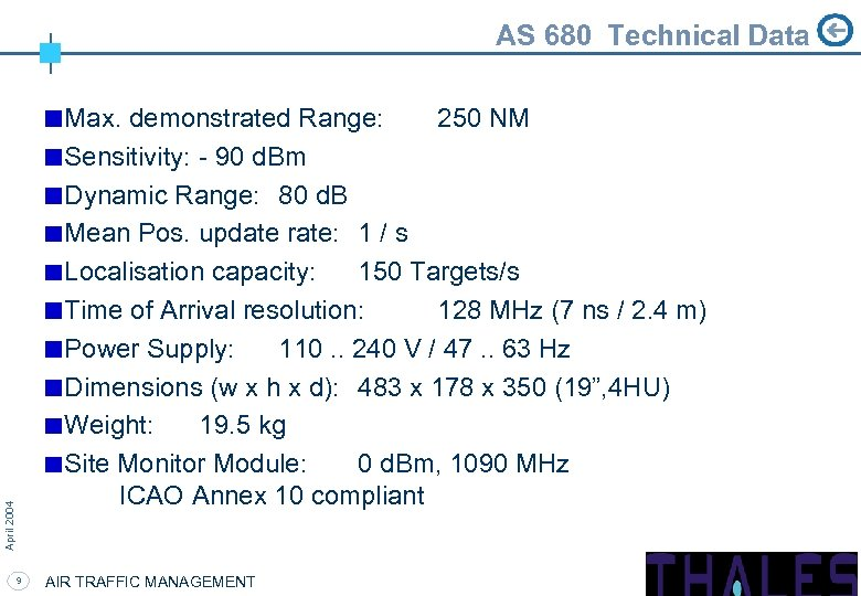 AS 680 Technical Data April 2004 Max. demonstrated Range: 250 NM Sensitivity: - 90