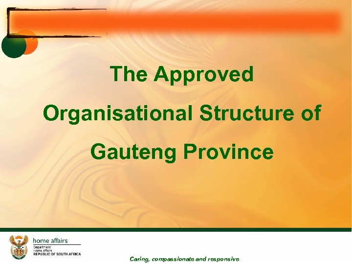 The Approved Organisational Structure of Gauteng Province Caring, compassionate and responsive