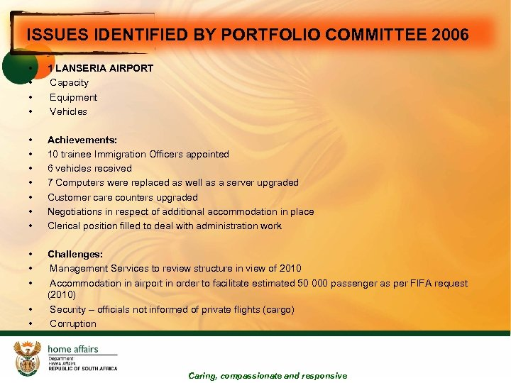 ISSUES IDENTIFIED BY PORTFOLIO COMMITTEE 2006 • • 1 LANSERIA AIRPORT Capacity Equipment Vehicles