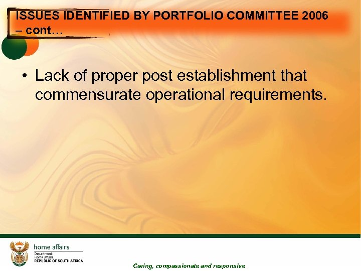 ISSUES IDENTIFIED BY PORTFOLIO COMMITTEE 2006 – cont… • Lack of proper post establishment
