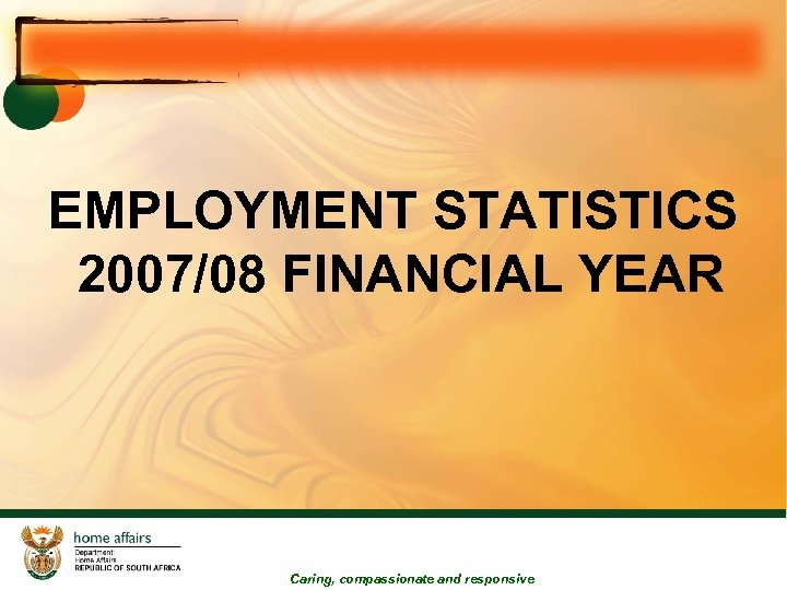 EMPLOYMENT STATISTICS 2007/08 FINANCIAL YEAR Caring, compassionate and responsive