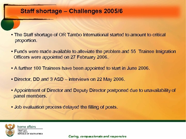 Staff shortage – Challenges 2005/6 • The Staff shortage of OR Tambo International started