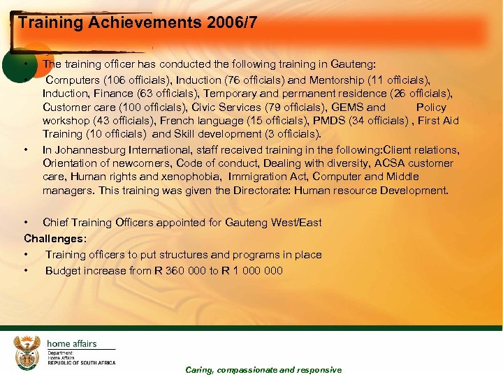 Training Achievements 2006/7 • • • The training officer has conducted the following training