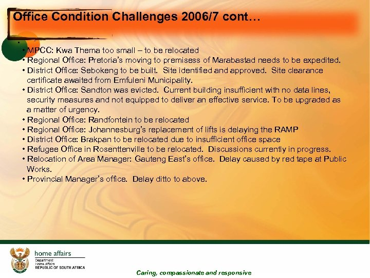 Office Condition Challenges 2006/7 cont… • • MPCC: Kwa Thema too small – to