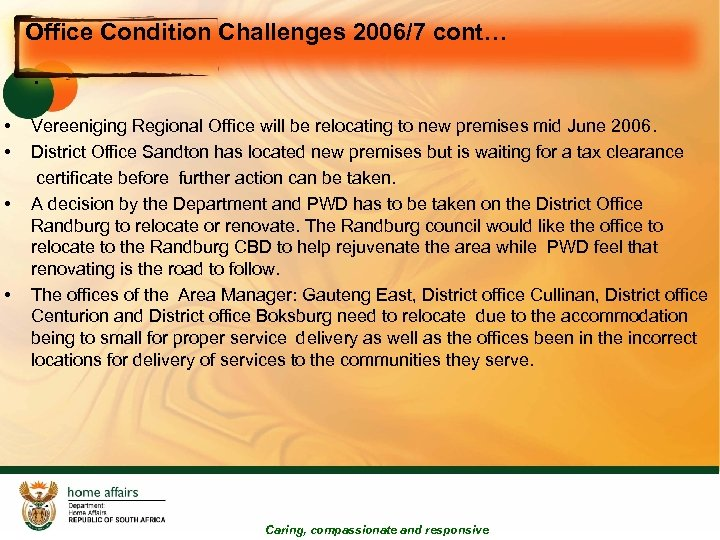 Office Condition Challenges 2006/7 cont… • • • Vereeniging Regional Office will be relocating