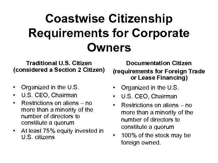 Coastwise Citizenship Requirements for Corporate Owners Traditional U. S. Citizen (considered a Section 2