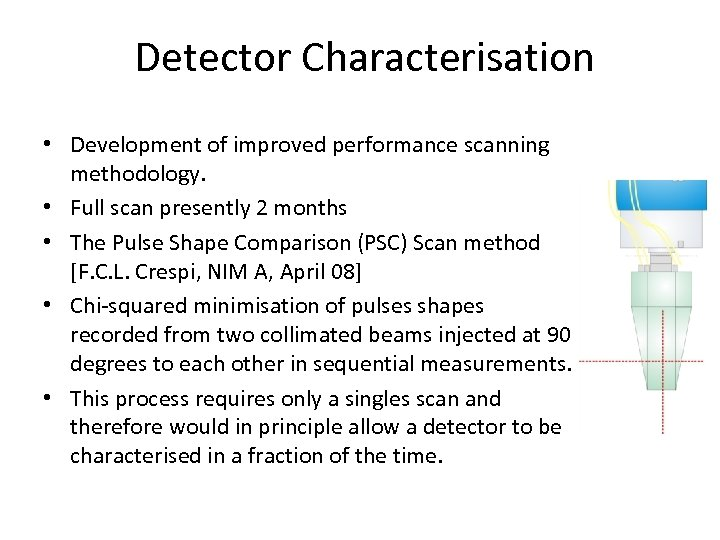 Detector Characterisation • Development of improved performance scanning methodology. • Full scan presently 2