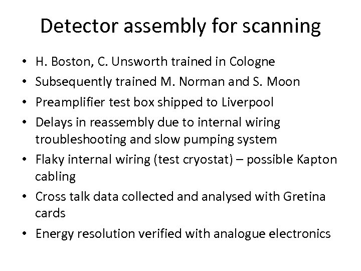 Detector assembly for scanning H. Boston, C. Unsworth trained in Cologne Subsequently trained M.