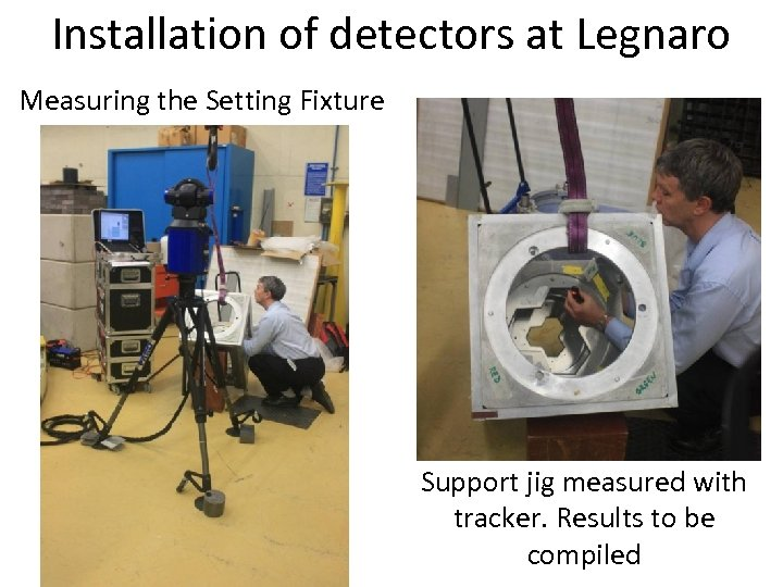 Installation of detectors at Legnaro Measuring the Setting Fixture Support jig measured with tracker.