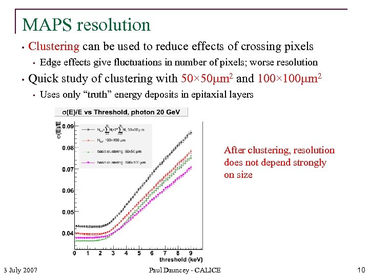 MAPS resolution • Clustering can be used to reduce effects of crossing pixels •
