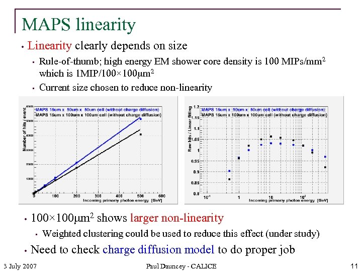 MAPS linearity Linearity clearly depends on size • Rule-of-thumb; high energy EM shower core