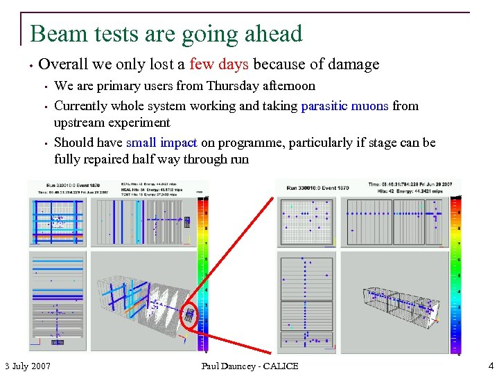 Beam tests are going ahead • Overall we only lost a few days because