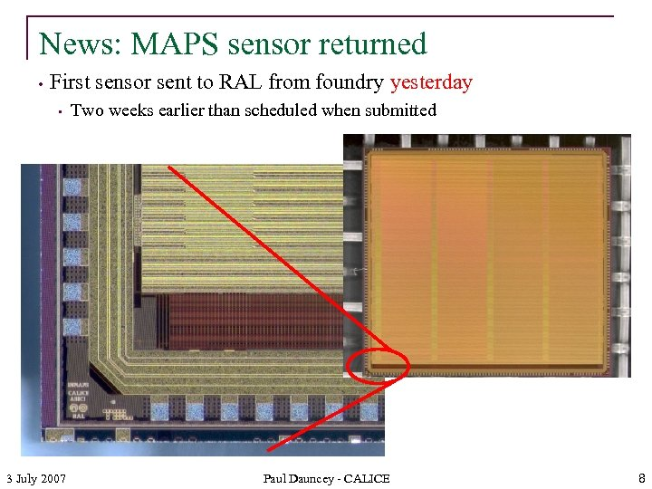 News: MAPS sensor returned • First sensor sent to RAL from foundry yesterday •