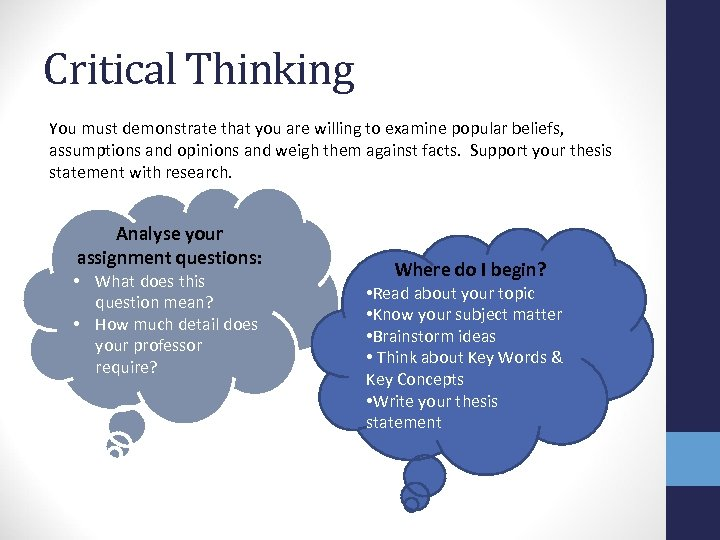 Critical Thinking You must demonstrate that you are willing to examine popular beliefs, assumptions