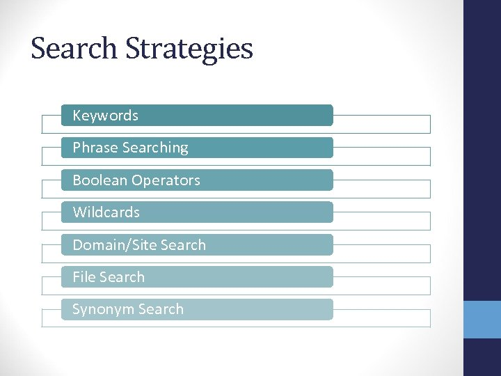 Search Strategies Keywords Phrase Searching Boolean Operators Wildcards Domain/Site Search File Search Synonym Search