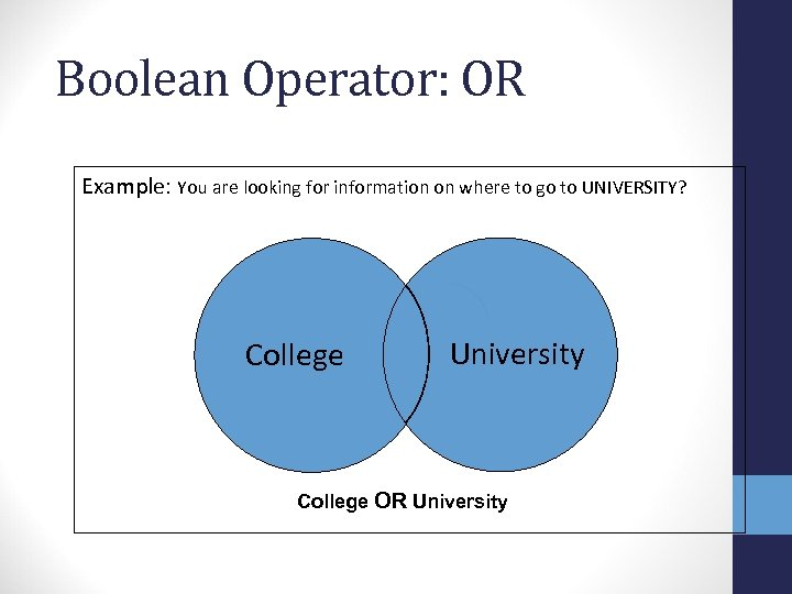 Boolean Operator: OR Example: You are looking for information on where to go to