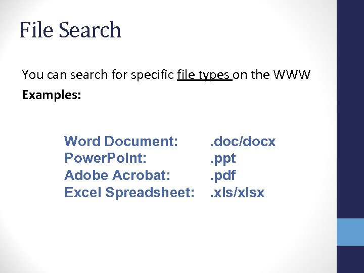 File Search You can search for specific file types on the WWW Examples: Word