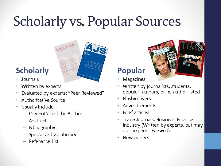Scholarly vs. Popular Sources Scholarly • • • Journals Written by experts Evaluated by