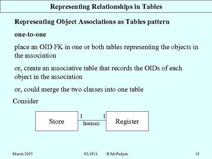 Representing Relationships in Tables Representing Object Associations as Tables pattern one-to-one place an OID