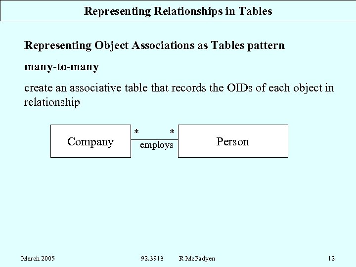 Representing Relationships in Tables Representing Object Associations as Tables pattern many-to-many create an associative