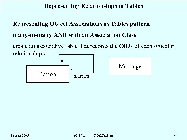 Representing Relationships in Tables Representing Object Associations as Tables pattern many-to-many AND with an