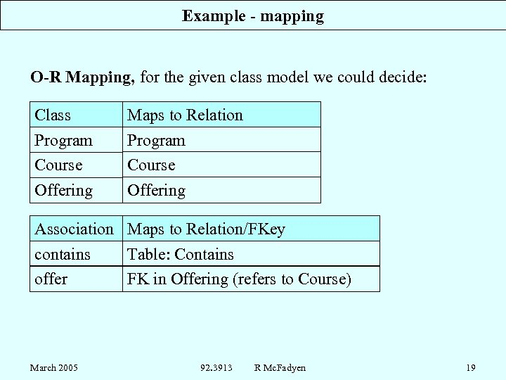 Example - mapping O-R Mapping, for the given class model we could decide: Class