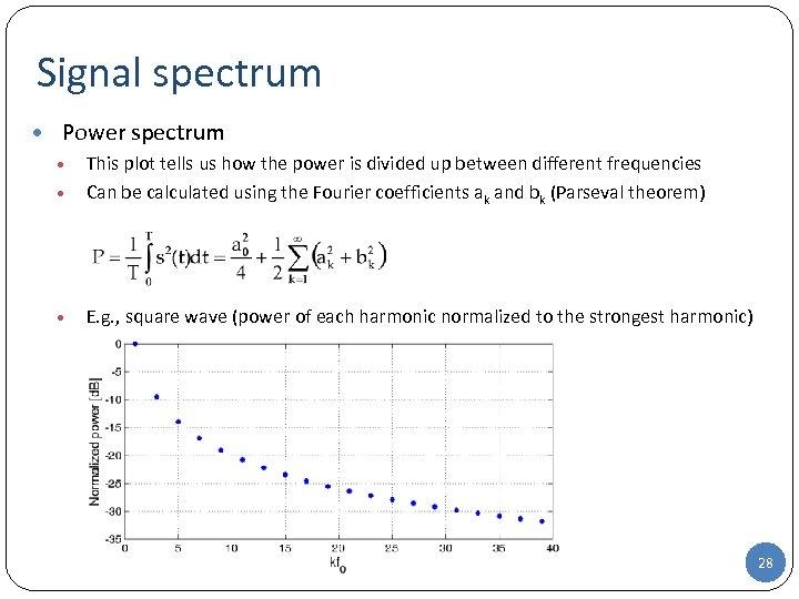 Signal spectrum • Power spectrum • This plot tells us how the power is