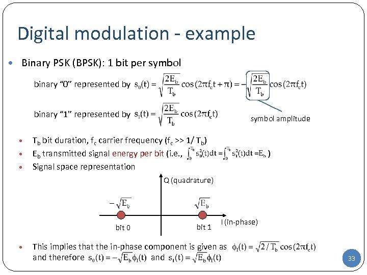 "Digital modulation - example • Binary PSK (BPSK): 1 bit per symbol binary """