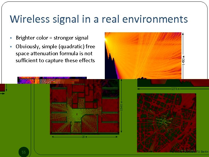 Wireless signal in a real environments • Brighter color = stronger signal • Obviously,