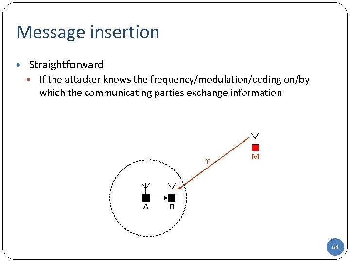 Message insertion • Straightforward • If the attacker knows the frequency/modulation/coding on/by which the