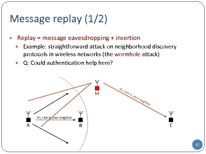 Message replay (1/2) • Replay = message eavesdropping + insertion • Example: straightforward attack