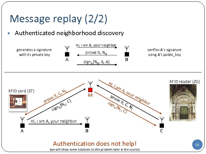 Message replay (2/2) • Authenticated neighborhood discovery Hi, I am A, your neighbor generates
