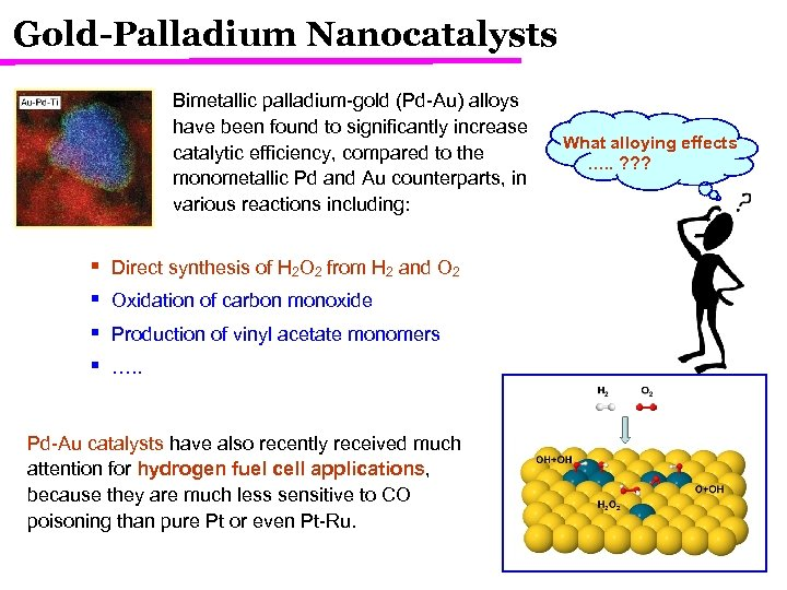 Gold-Palladium Nanocatalysts Bimetallic palladium-gold (Pd-Au) alloys have been found to significantly increase catalytic efficiency,