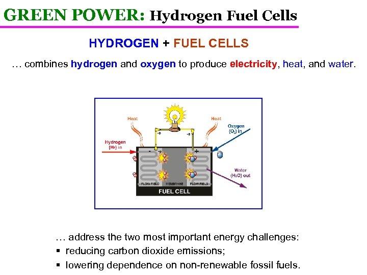 GREEN POWER: Hydrogen Fuel Cells HYDROGEN + FUEL CELLS … combines hydrogen and oxygen