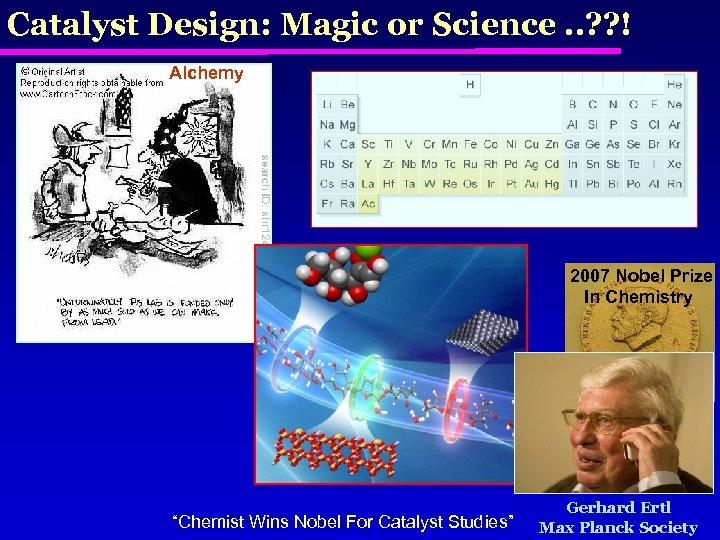Catalyst Design: Magic or Science. . ? ? ! Alchemy 2007 Nobel Prize In
