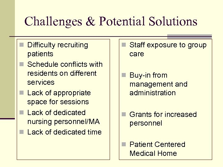 Challenges & Potential Solutions n Difficulty recruiting n n patients Schedule conflicts with residents