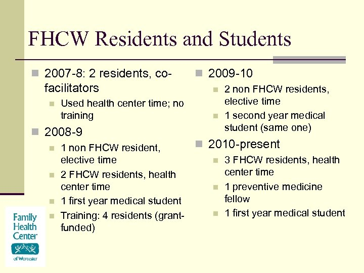 FHCW Residents and Students n 2007 -8: 2 residents, co- facilitators n Used health