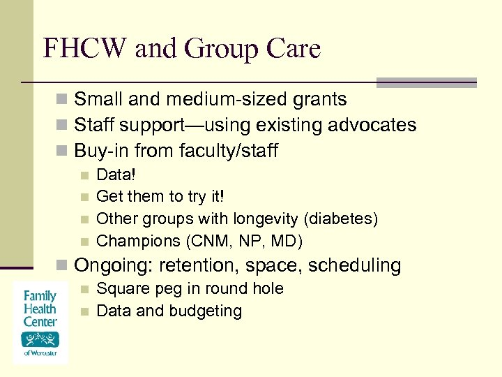 FHCW and Group Care n Small and medium-sized grants n Staff support—using existing advocates