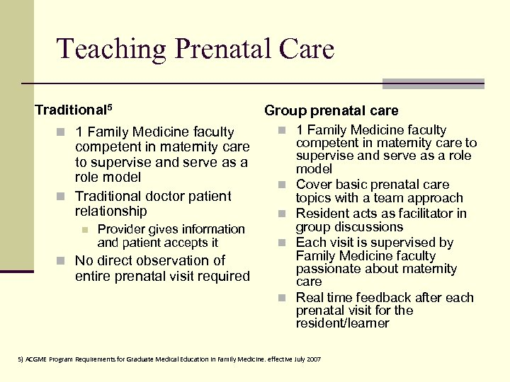 Teaching Prenatal Care Traditional 5 n 1 Family Medicine faculty competent in maternity care