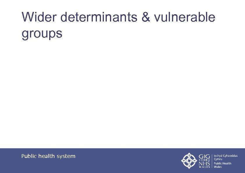 Wider determinants & vulnerable groups Public health system