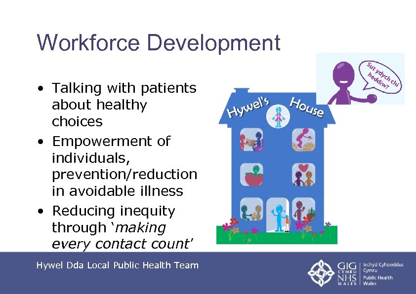 Workforce Development • Talking with patients about healthy choices • Empowerment of individuals, prevention/reduction