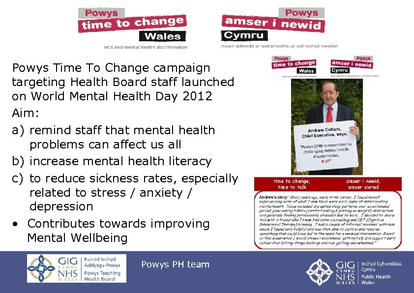 Powys Time To Change campaign targeting Health Board staff launched on World Mental Health
