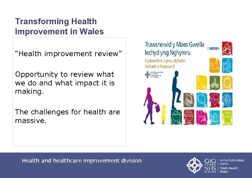 """Transforming Health Improvement in Wales """"Health improvement review"""" Opportunity to review what we do"""