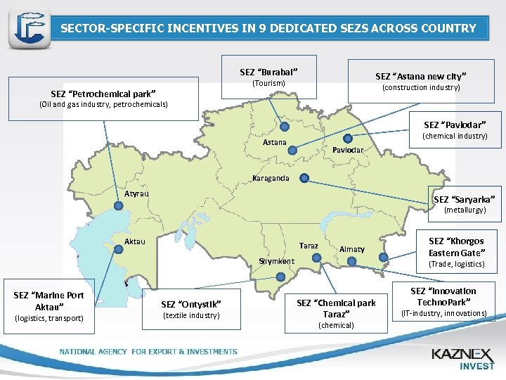 "SECTOR-SPECIFIC INCENTIVES IN 9 DEDICATED SEZS ACROSS COUNTRY SEZ ""Burabai"" SEZ ""Astana new city"""