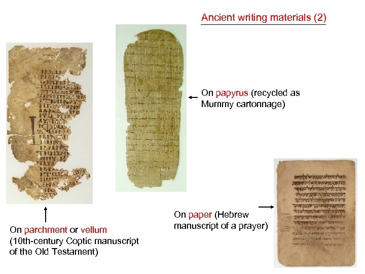 Ancient writing materials (2) On papyrus (recycled as Mummy cartonnage) On parchment or vellum