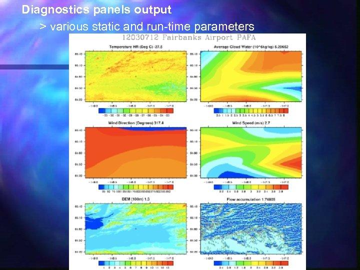 Diagnostics panels output > various static and run-time parameters
