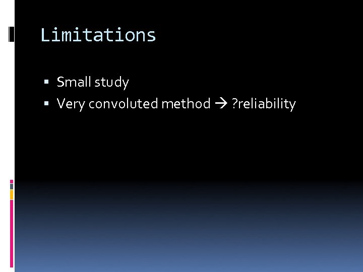 Limitations Small study Very convoluted method ? reliability