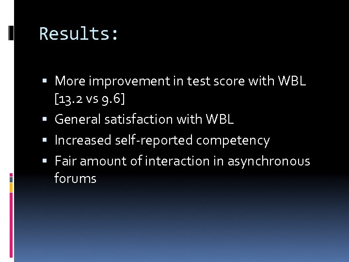 Results: More improvement in test score with WBL [13. 2 vs 9. 6] General