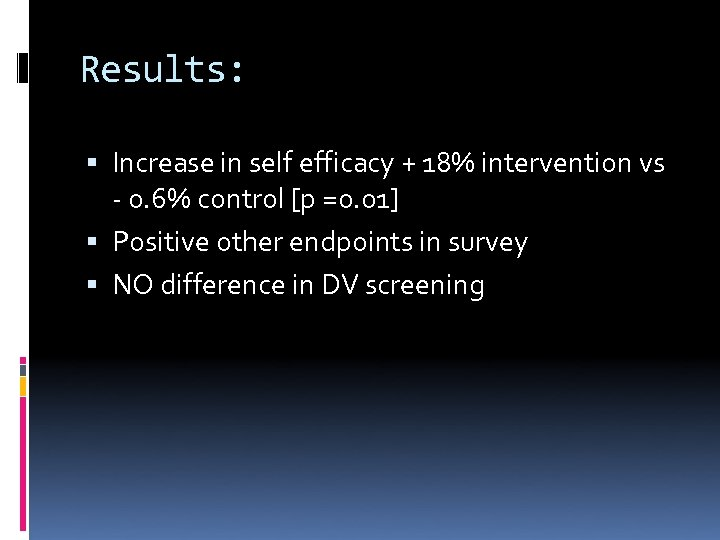 Results: Increase in self efficacy + 18% intervention vs - 0. 6% control [p