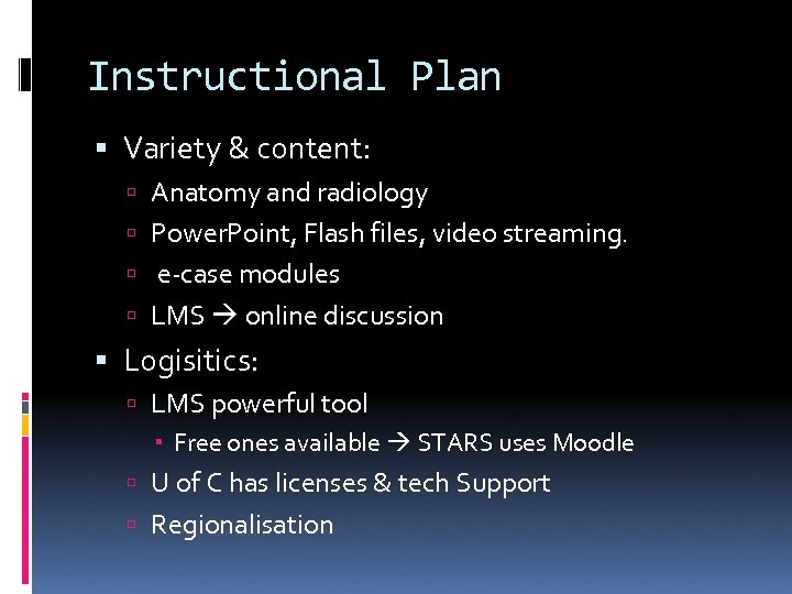 Instructional Plan Variety & content: Anatomy and radiology Power. Point, Flash files, video streaming.